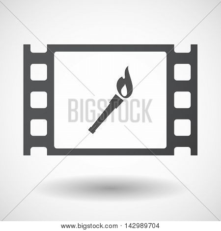 Isolated Celluloid Film Frame Icon With  A Torch Icon