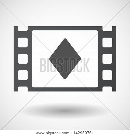 Isolated Celluloid Film Frame Icon With  The  Diamond  Poker Playing Card Sign