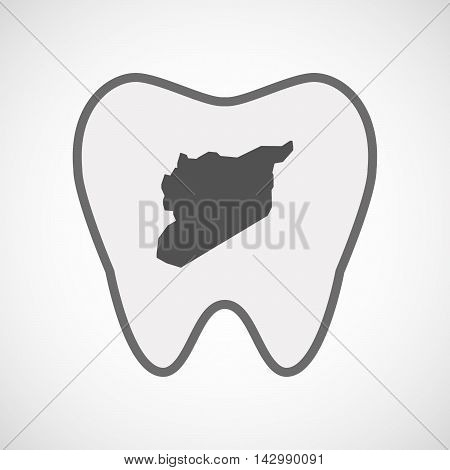 Isolated Line Art Tooth Icon With  The Map Of Syria
