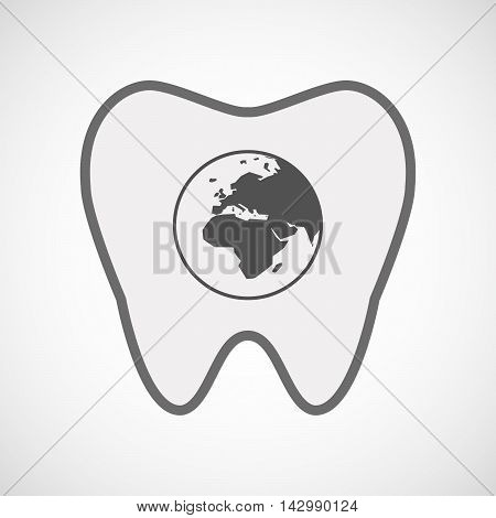 Isolated Line Art Tooth Icon With   An Asia, Africa And Europe Regions World Globe