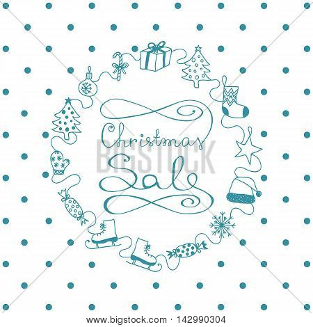 Blue Banner Christmas Sale With Hend-drawn Elements
