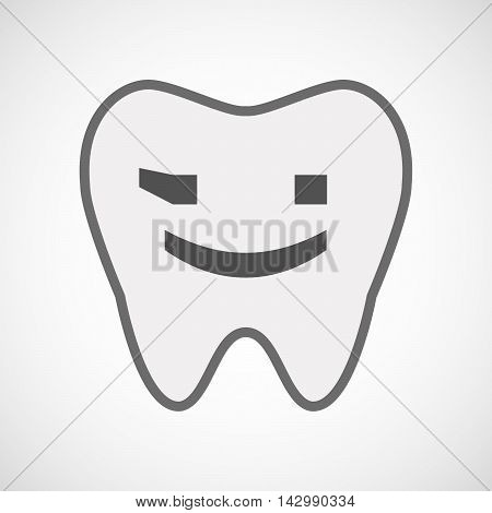 Isolated Line Art Tooth Icon With  A Wink Text Face Emoticon