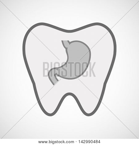 Isolated Line Art Tooth Icon With  A Healthy Human Stomach Icon