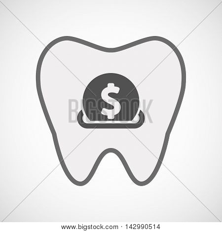 Isolated Line Art Tooth Icon With  A Dollar Coin Entering In A Moneybox