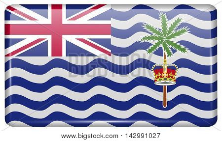 Flags British Indian Ocean Territory In The Form Of A Magnet On Refrigerator With Reflections Light.