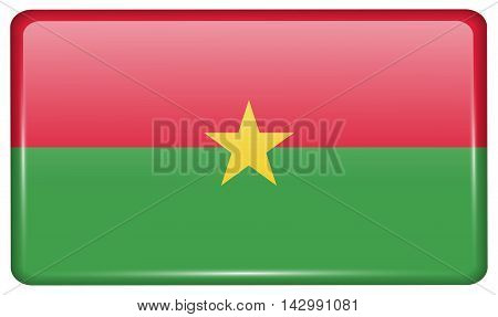 Flags Burkia Faso In The Form Of A Magnet On Refrigerator With Reflections Light. Vector