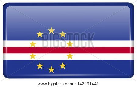 Flags Cape Verde In The Form Of A Magnet On Refrigerator With Reflections Light. Vector