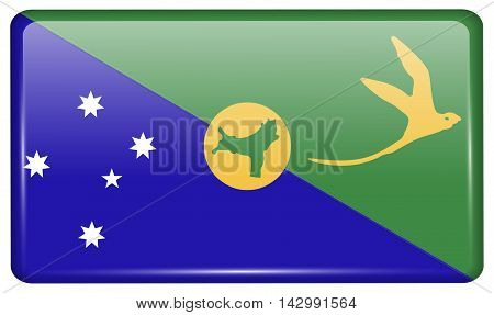 Flags Christmas Island In The Form Of A Magnet On Refrigerator With Reflections Light. Vector