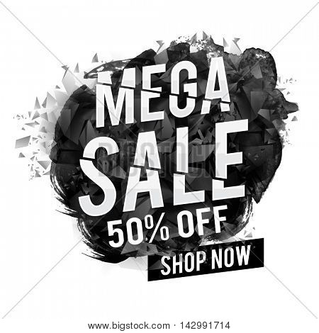 Mega Sale with 50% Off, Creative abstract typographical background, Can be used as Poster, Banner or Flyer design.