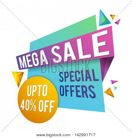 Mega Sale with Special Offer upto 40% off, Creative Paper Tag, Poster, Banner or Flyer design on white background.