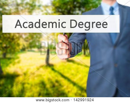 Academic Degree - Business Man Showing Sign