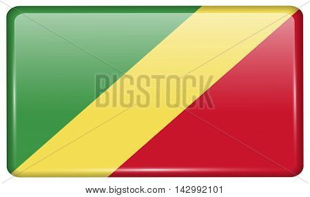 Flags Congo Republic In The Form Of A Magnet On Refrigerator With Reflections Light. Vector