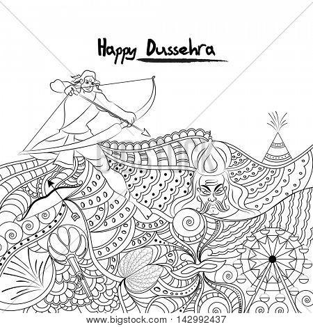 Creative black and white doodle style illustration for Indian Festival, Happy Dussehra celebration.
