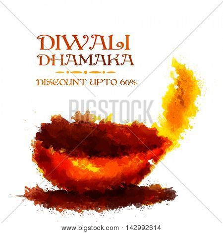 Diwali Dhamaka Poster, Lowest Price Banner, Best Offer Flyer, Discount Upto 60% Off, Vector illustration with creative Lit Lamp made by abstract brush splash.