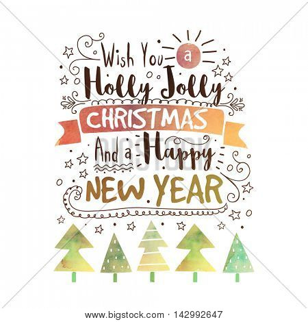 Holly Jolly Christmas and Happy New Year handwritten lettering design, Creative typographic background, Elegant Poster, Banner or Flyer design.