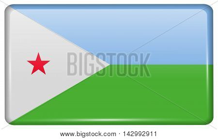 Flags Djibouti In The Form Of A Magnet On Refrigerator With Reflections Light. Vector