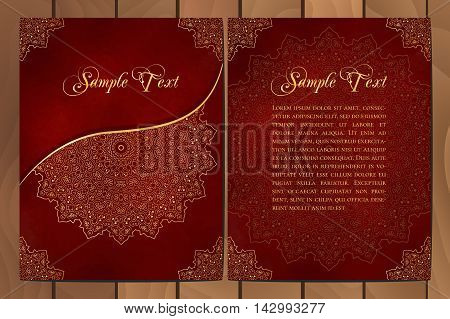 Set of cards or invitations with mandala pattern. Vector vintage hand-drawn highly detailed round mandala elements. Luxury lace festive ornament card. Islam Arabic Indian Turkish Ottoman Pakistan motifs.
