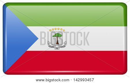 Flags Equatorial Guinea In The Form Of A Magnet On Refrigerator With Reflections Light. Vector