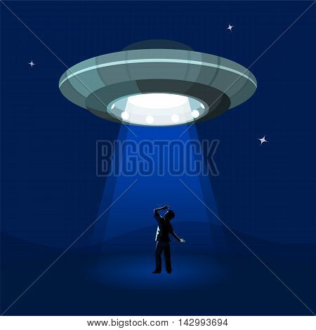 Aliens spaceship abducts the man under cloud of night, colorful flat vector illustration