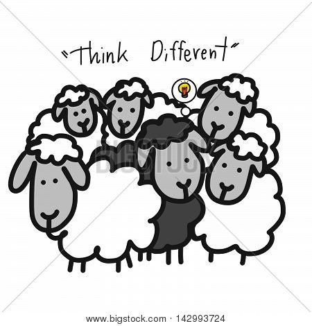 Black sheep in white sheep group cartoon illustration