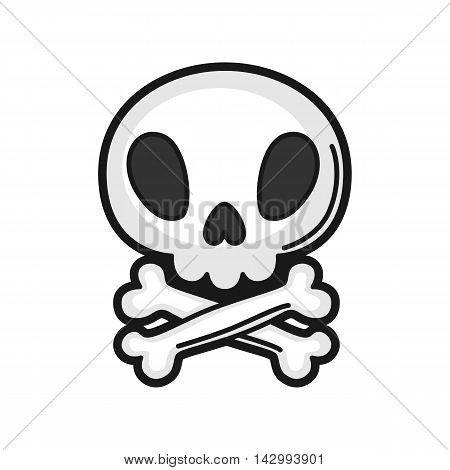 Illustration of skull. Icon on white background.