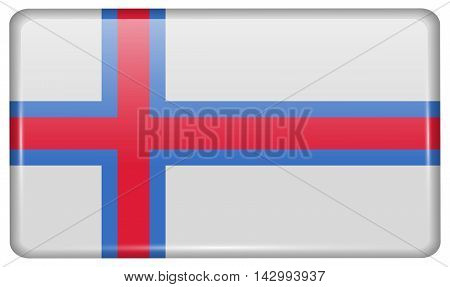 Flags Faroe Islands In The Form Of A Magnet On Refrigerator With Reflections Light. Vector