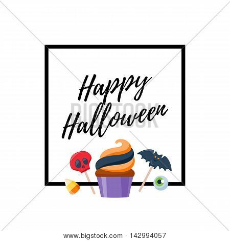 Halloween sweets colorful party background. Candy corn caramel jelly bean cupcake apple cookie, good for holiday design. Halloween greetings.