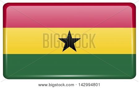 Flags Ghana In The Form Of A Magnet On Refrigerator With Reflections Light. Vector