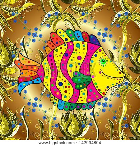 Vector vivid seamless abstract hand drawn pattern with plants and doodles fishes on golden round background.
