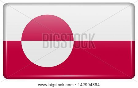 Flags Greenland In The Form Of A Magnet On Refrigerator With Reflections Light. Vector