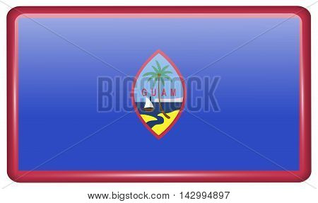 Flags Guam In The Form Of A Magnet On Refrigerator With Reflections Light. Vector
