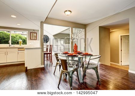 Open Floor Plan. Modern Dining Area With Glass Tab