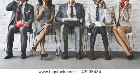 Business Workers Corporate Sitting Concept