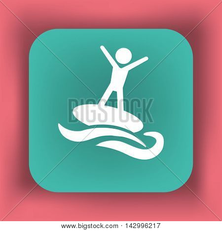 Flat icon. Man riding on water. Sports on the waves.