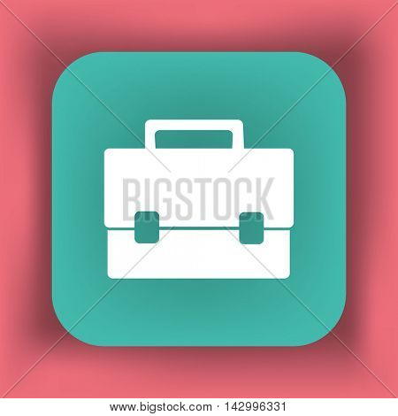 Briefcase illustration. Flat vector icon.