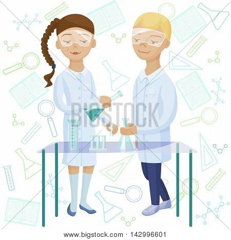 Kids at chemistry lab. Children studying chemistry. Pupils taking experiment at school laboratory
