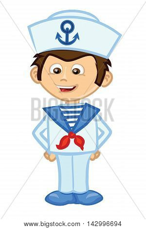 Cute small Cartoon sailor smiles, vector illustration