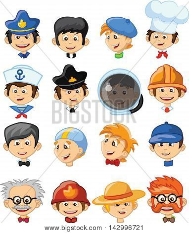 Cartoon set of vector characters of different professions