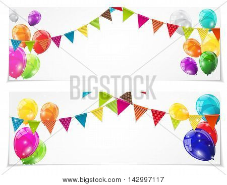 Color Glossy Balloons Card Set Background Vector Illustration eps10