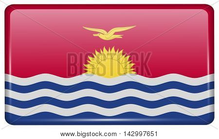 Flags Kiribati In The Form Of A Magnet On Refrigerator With Reflections Light. Vector