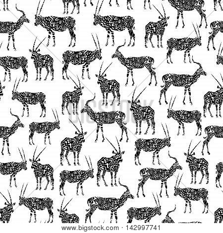 Black And White Seamless Pattern With Antelope