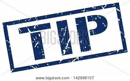 tip stamp. blue grunge square isolated sign