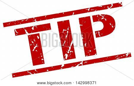 tip stamp. red grunge square isolated sign