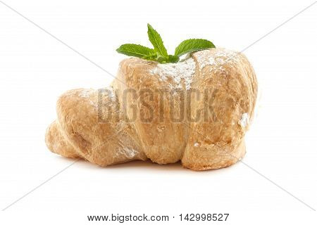 Puff rolls with cream and mint isolated on white background