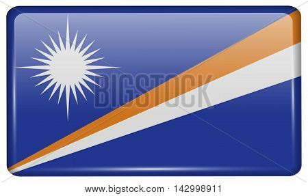 Flags Marshll Islands In The Form Of A Magnet On Refrigerator With Reflections Light. Vector