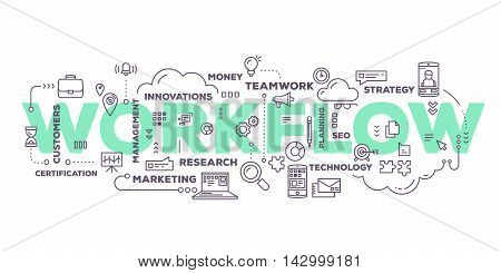 Vector creative illustration of workflow word lettering typography with line icons and tag cloud on white background. Business workflow technology concept. Thin line art style design for business workflow plan management theme