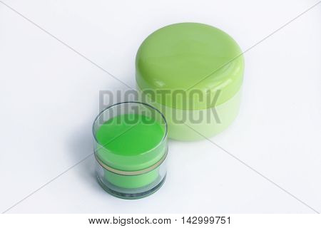 Cosmetic set of two face care cream bottles