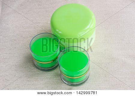 Cosmetic set of 3 moisture cream bottles
