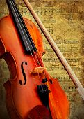 foto of music instrument  - Retro musical  grunge violin background - JPG
