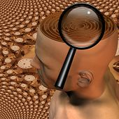 stock photo of dadaism  - High Resolution 3D Illustration Magnify glass and maze in mans head - JPG